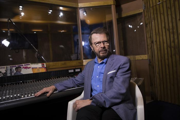 Bjorn Ulvaeus poses for photographers in a recreation of the Polar recording studio in London.