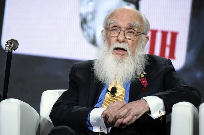 "Magician James Randi participates in the ""An Honest Liar"" panel at the PBS Winter TCA in Pasadena, Calif."