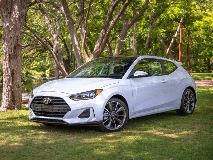 This photo from Hyundai shows the 2021 Veloster, a compact hatchback with three doors suitable for scampering around town