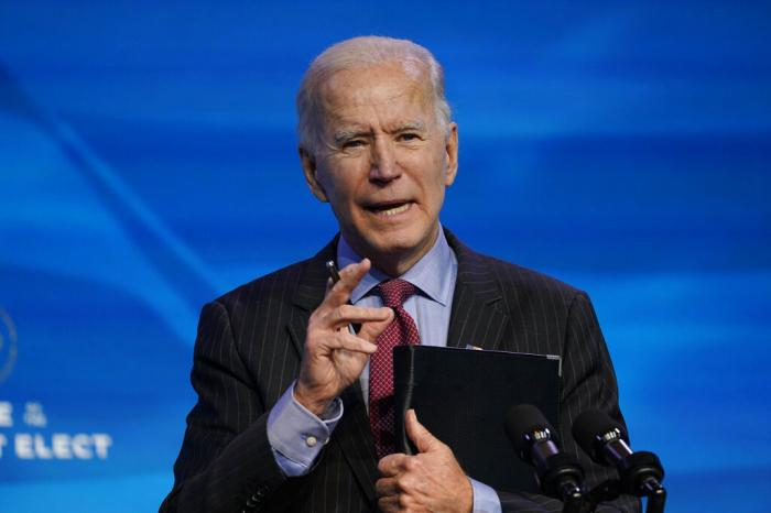 President-elect Joe Biden speaks during an event at The Queen theater in Wilmington, Del.