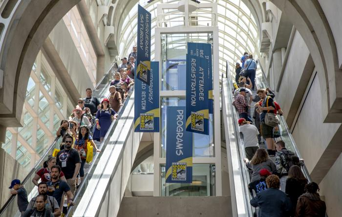 Attendees filter through the San Diego Convention Center on Day One at Comic-Con International on July 18, 2019, in San Diego, Calif.